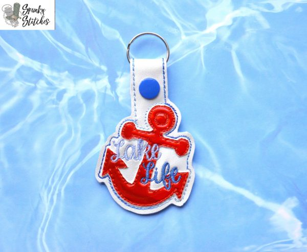 Lake Life Key Fob in the hoop embroidery file by Spunky stitches