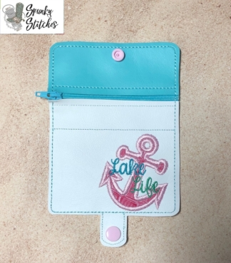 Lake Life mini zipper wallet Key Fob in the hoop embroidery file by Spunky stitches