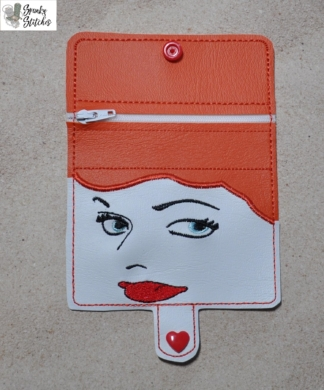 Lucy mini zipper wallet Key Fob in the hoop embroidery file by Spunky stitches