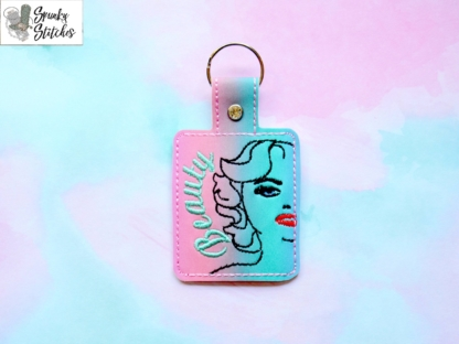 Marilyn Key Fob in the hoop embroidery file by Spunky stitches