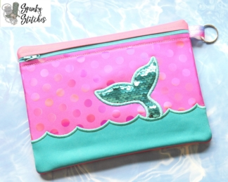 Mermaid Waves zipper bag in the hoop embroidery file by Spunky stitches