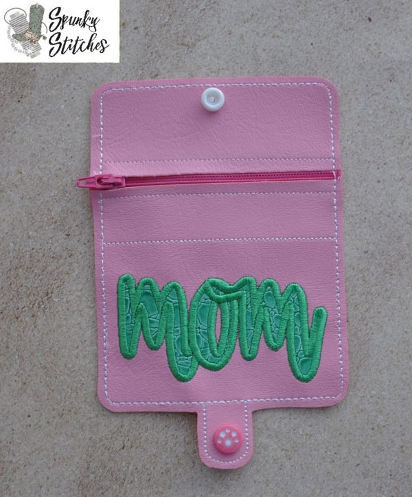 Mom mini zipper wallet Key Fob in the hoop embroidery file by Spunky stitches