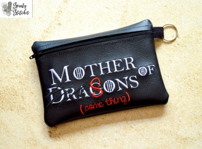 mother of sons Zipper Bag in the hoop embroidery file by Spunky stitches
