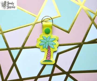 Palm Tree Key Fob in the hoop embroidery file by Spunky stitches