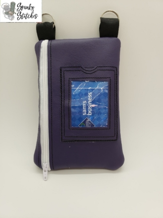 Phone ID Crossbody Zipper Bag in the hoop embroidery file by Spunky stitches