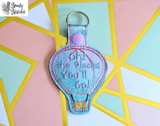 Places you'll go key fob in the hoop embroidery file by Spunky stitches