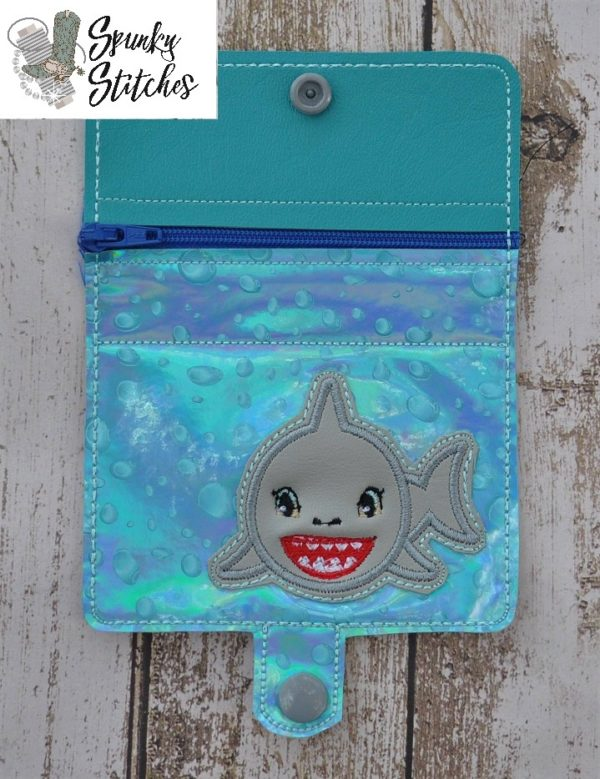 shark zipper wallet in the hoop embroidery file by Spunky stitches