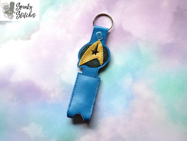 star trek chapstick key fob in the hoop embroidery file by spunky stitches.