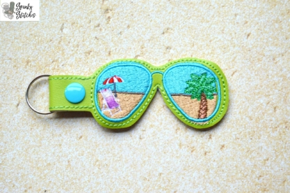 sunglasses Key Fob in the hoop embroidery file by Spunky stitches