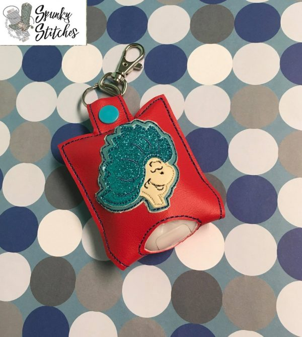 thing 1 Hand Sanitizer Holder Key Fob in the hoop embroidery file by Spunky stitches
