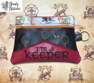 I'm a keeper zipper bag in the hoop embroidery file by Spunky stitches