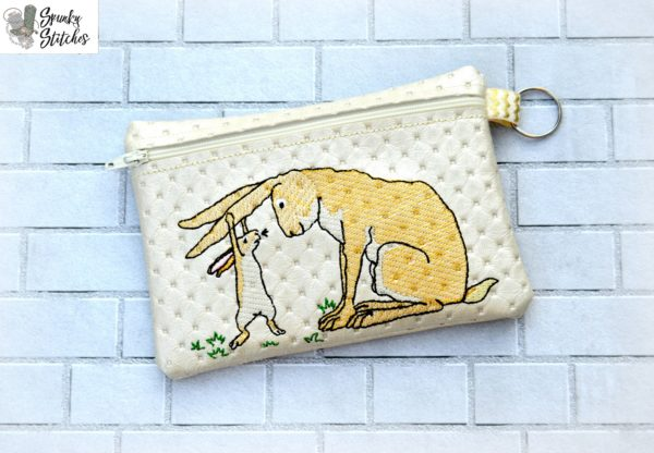Rabbits zipper bag in the hoop embroidery file by Spunky stitches