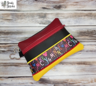 Slant triple stripe zipper bag in the hoop embroidery file by Spunky stitches