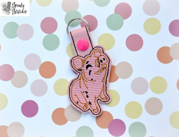 Wilbur key fob in the hoop embroidery file by Spunky stitches