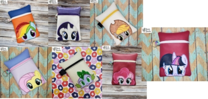 MLP zipper bag set in the hoop embroidery file by Spunky stitches