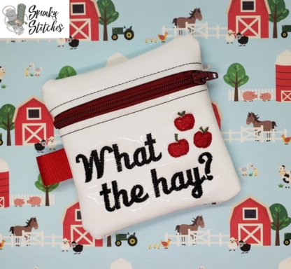 What the Hay zipperbag in the hoop embroidery file by Spunky stitches