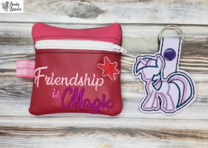 Friendship is magic zipperbag in the hoop embroidery file by Spunky stitches