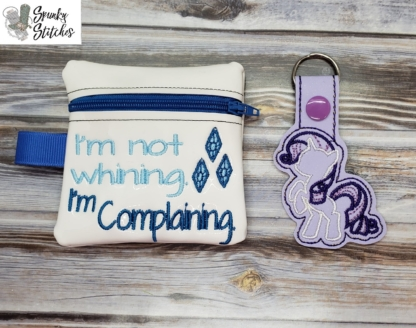 rarity zipper bag in the hoop embroidery file by Spunky stitches