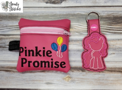 Pinkie Promise zipper bag in the hoop embroidery file by Spunky stitches