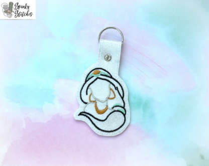 Jasmine Key Fob in the hoop embroidery file by Spunky stitches