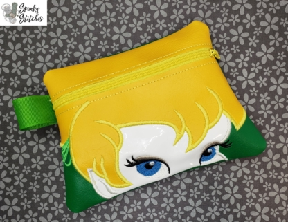 Tinkerbelle zipper bag in the hoop embroidery file by Spunky stitches