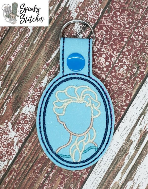 Key Fob in Elsa the hoop embroidery file by Spunky stitches