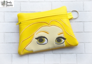 Rapunzel zipper bag in the hoop embroidery file by Spunky stitches
