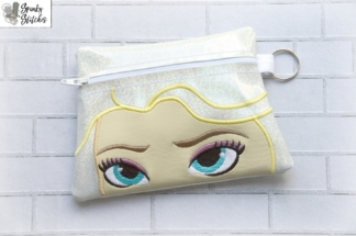 Elsa zipper bag in the hoop embroidery file by Spunky stitches