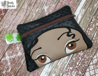 tiana zipper bag in the hoop embroidery file by Spunky stitches