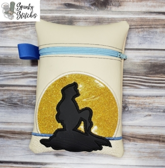 Ariel on the Rock zipper bag in the hoop embroidery file by Spunky stitches