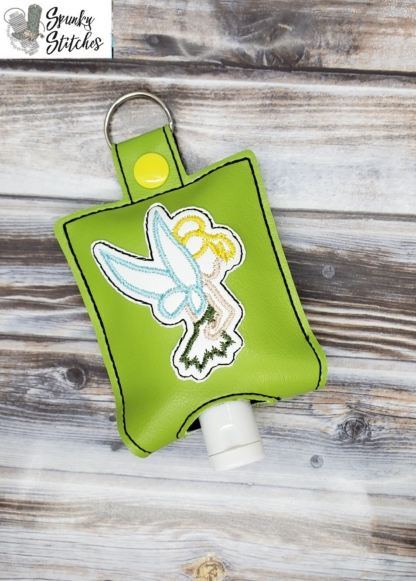 Tinkerbelle Hand Sanitizer Holder Key Fob in the hoop embroidery file by Spunky stitches