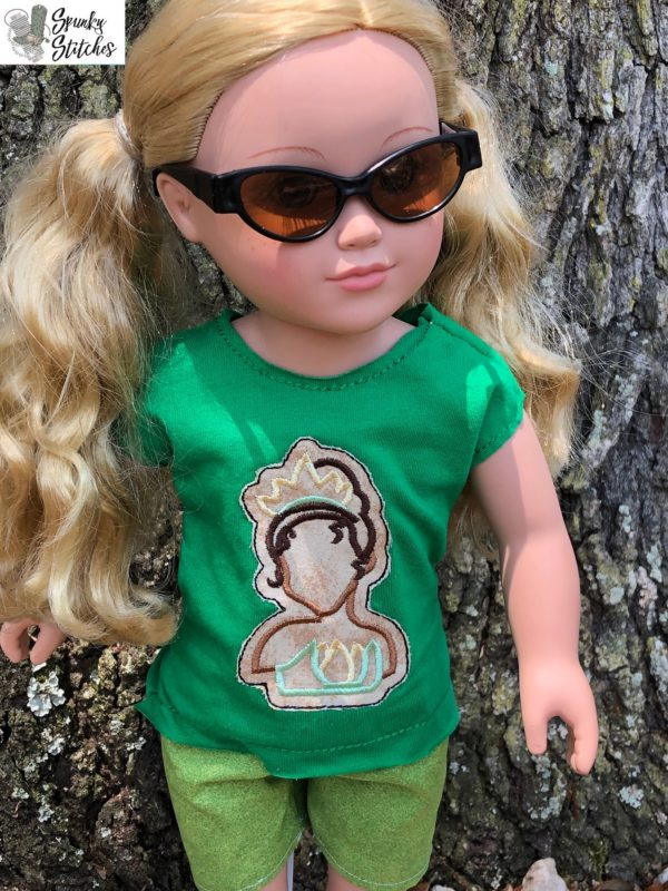 Tiana 18in doll Shirt in the hoop embroidery file by Spunky stitches