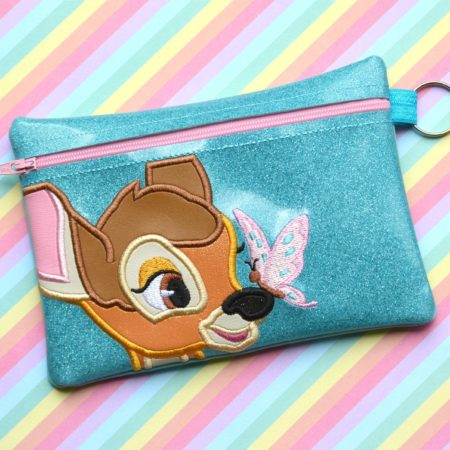 bambi zipper bag in the hoop embroidery file by Spunky stitches