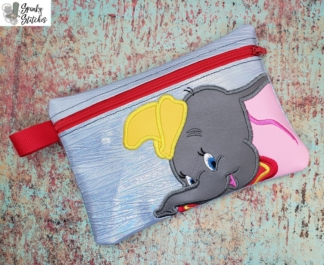 dumbo zipper bag in the hoop embroidery file by Spunky stitches