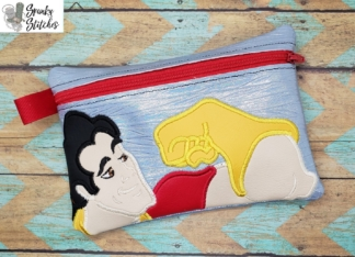 Gaston zipper bag in the hoop embroidery file by Spunky stitches
