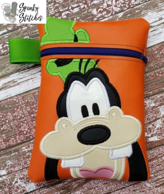 Goofy zipper bag in the hoop embroidery file by Spunky stitches