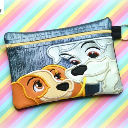 Lady and the Tramp zipper bag in the hoop embroidery file by Spunky stitches